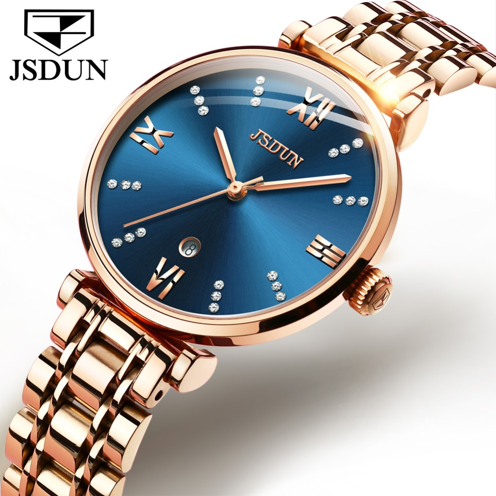 цена на Reloj Mujer JSDUN Swiss Quartz Watches For Women Rose Gold Stainless Band Lady Dress Watch Date Luxury Female Clock montre femme