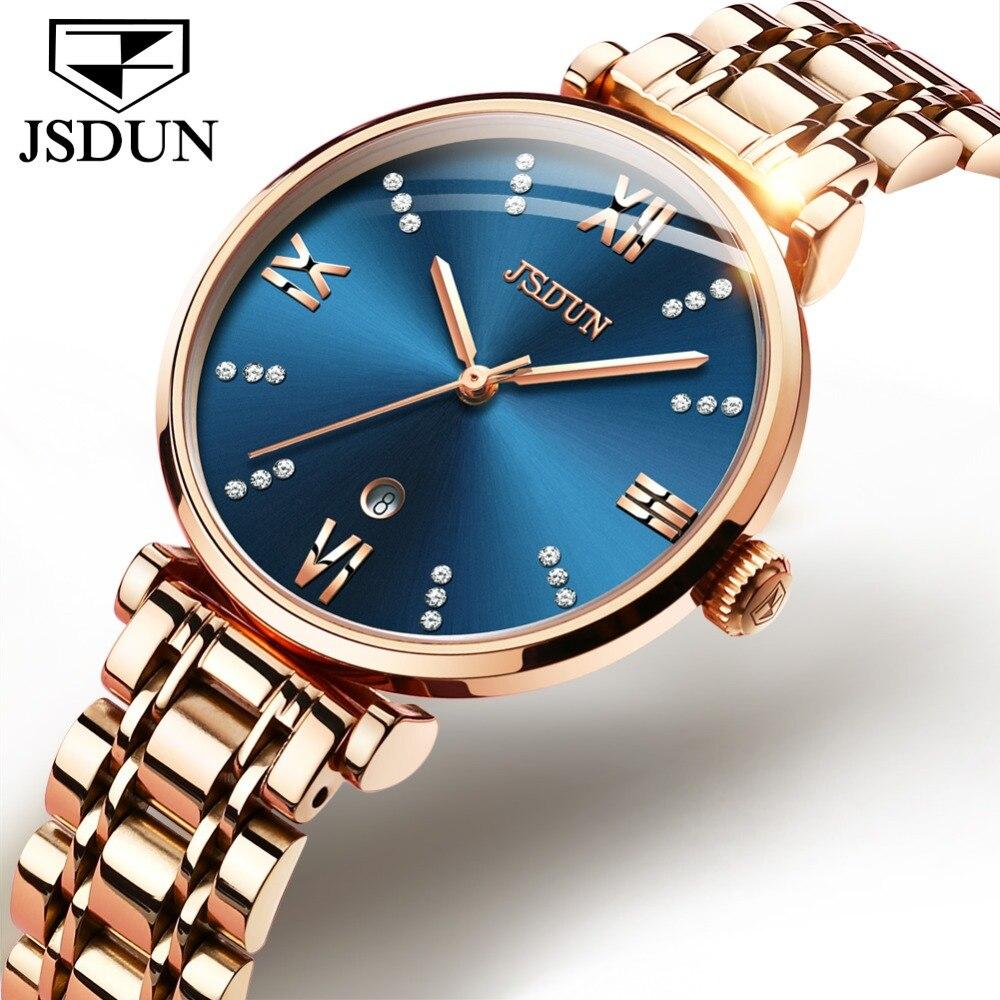 Reloj Mujer JSDUN montres à Quartz suisses pour femmes or Rose bande en acier inoxydable dame robe montre Date de luxe femme horloge montre femme-in Montres femme from Montres    1