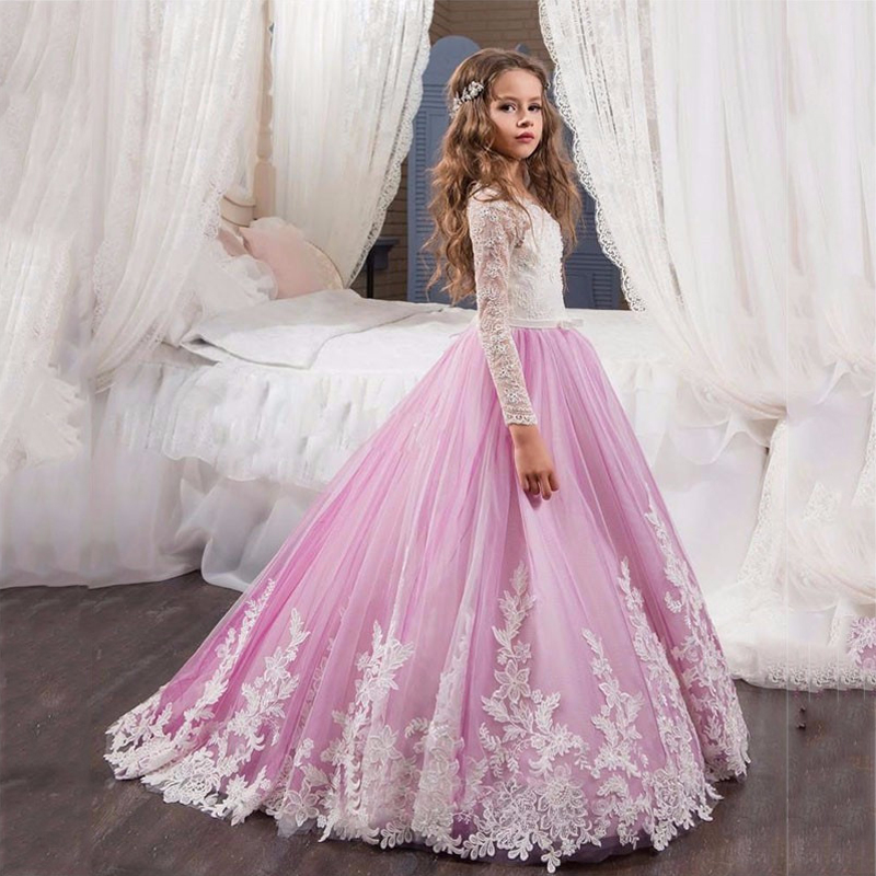 Beautiful Lace Long Sleeves Floral Appliques Flower Girl Dress Pink Mesh Ball Gowns Kids Holy Communion Dresses 1-14 Years Old stunning elegant lace appliques half sleeves ruffles floor length heirloom white holy communion kids dresses 0 12 y girls gowns