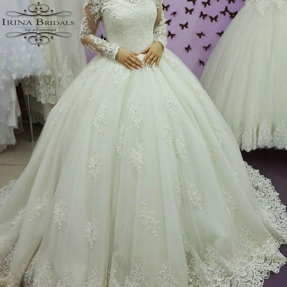 Vestido De Boda Long Sleeve Lace Appliques Ball Gown Off