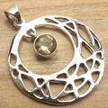 Silver Plated Pendant ! Original Yellow CITRINE Gem Women Fashion Jewellery
