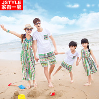 Family Set Clothes For Father Mother And Daughter Son Dress A Family Of Three Bohemian Style Family Fitted Matching Outfits
