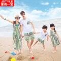 Familia conjunto de ropa para el padre madre hija hijo vestido de una familia de tres estilo bohemio de la familia equipada A juego trajes