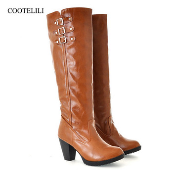 COOTELILI Plus Size Knee High Boots Autumn Winter PU Leather Shoes Women Rivet High Heels Boots Wedges Pumps White Black 34-43