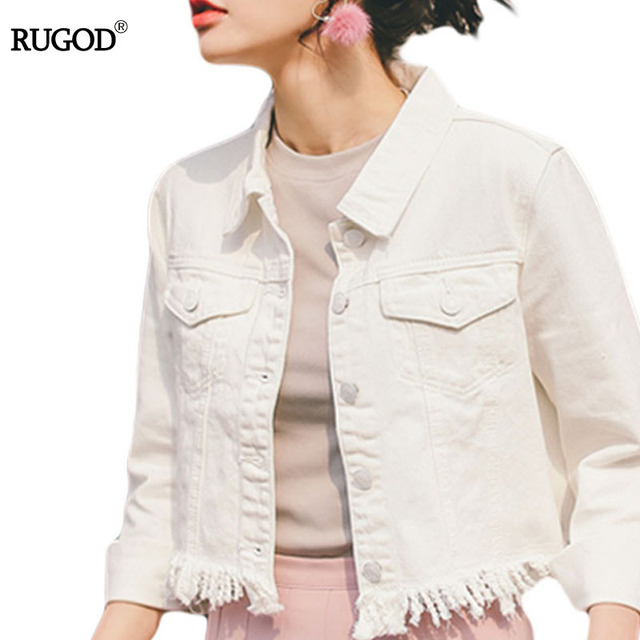 10da74aac8a10 RUGOD 2018 Spring Spring Women Embroidered denim Jackets Casual Vintage female  Coats Loose outerwear White femme jean jacket