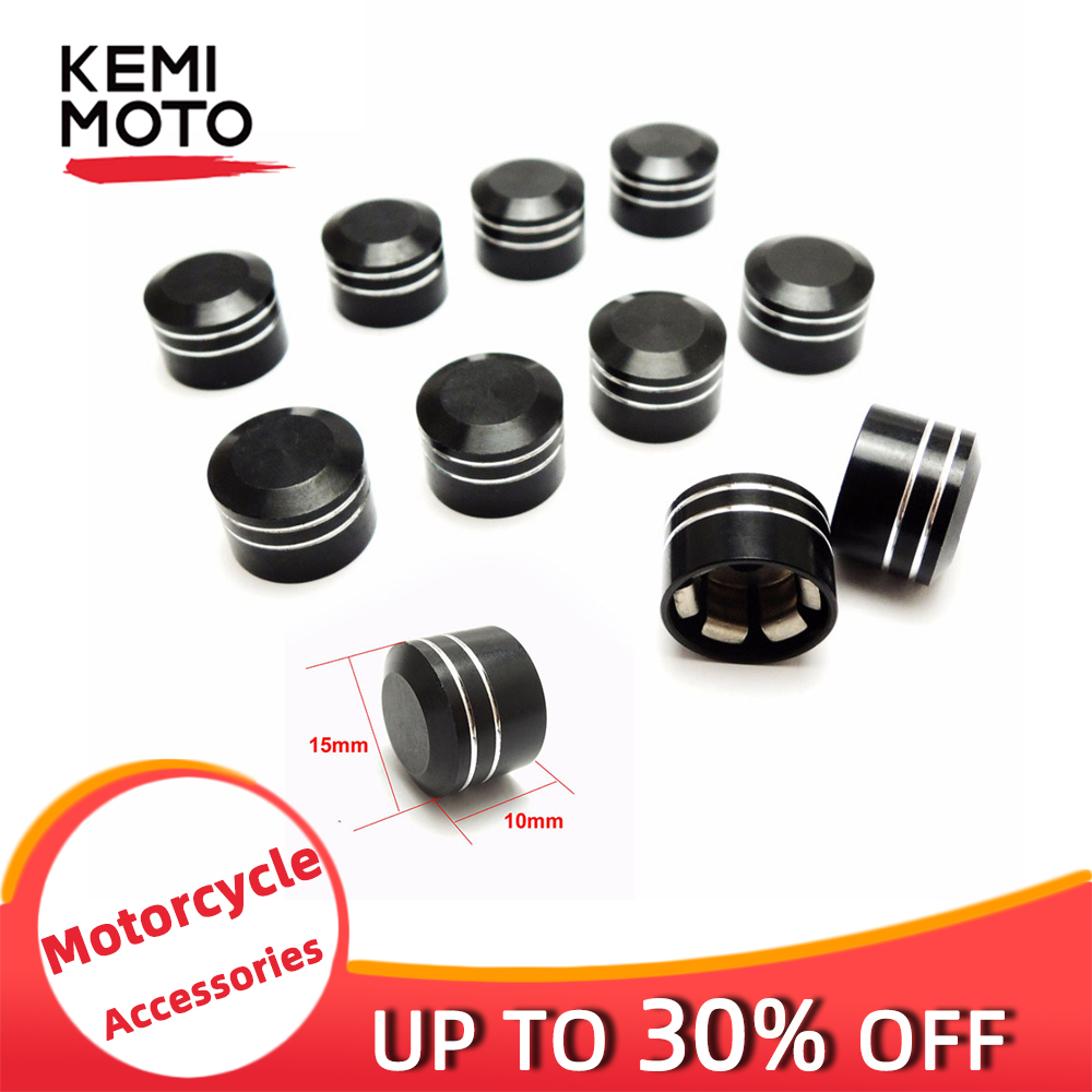 Motorcycle Accessories Caps Inner 1/4 9mm Metal Black  Screw Cover Bolt Topper Cap For CNC Sportster Softail