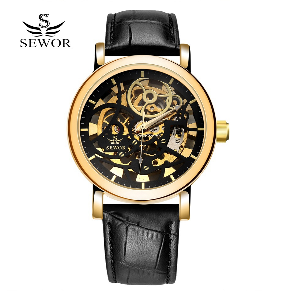 SEWOR New Sport Watch font b Men b font Luxury Gold Leather Fashion Casual Skeleton Hand