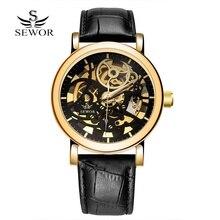 SEWOR Nuevo Reloj Deportivo de Lujo de Los Hombres de Moda de Cuero de Oro Esqueleto de la Mano del Viento Reloj Mecánico de Los Hombres reloj Del Negocio Del Vestido Ocasional