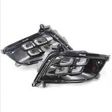 Car Flashing LED DRL For Kia Optima K5 2013 2014 2015 Fog lamp Cover Daytime Running Lights with turn yellow signal все цены