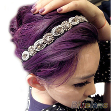 Горячие Моды Ретро Стиль Женщины HairBand Кристалл Rhinestone Серые Шарики Диапазона Волос Держателя 0J2J