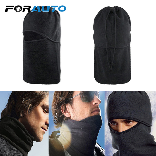 FORAUTO Black Balaclava Full Face Cover Cap Fleece Mask Windproof Hat Winter Stopper Motorcycle Face Mask