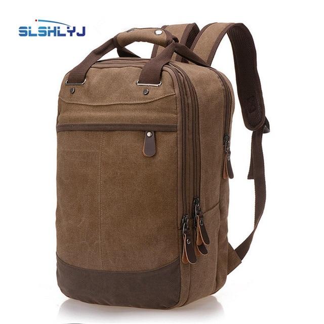 Wearable canvas soft side shoulders backpack shoulder pads zipper large  capacity multi-storey travel backpack computer bag 9a15a1ab12781