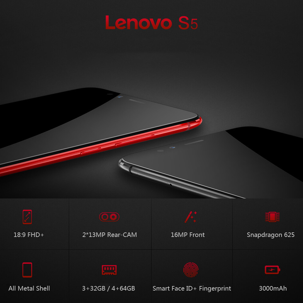 Lenovo S5 K520 4GB RAM 64GB ROM Snapdragon 625 Octa Core Mobile Phone 2160*1080 13MP Dual Camera Face ID Full Screen Smartphone