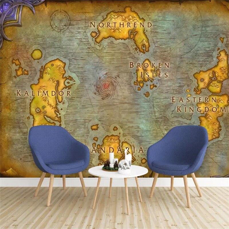 Beibehang personalizado papel de parede 3d mural europeu mapa antigo jogo online mundo do warcraft mapa fundo