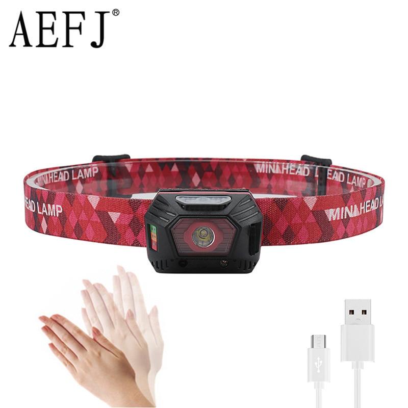 Mini Portable Headlights Body Motion Sensor Built-in Batteries Headlamp Head Light Lamp XPE LED For Running/fishing/cycling