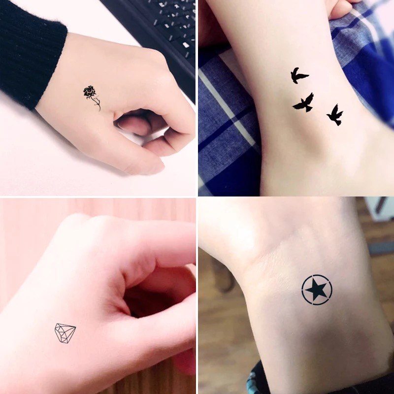Us 0 49 39 Off Krasivyy Temporary Tattoos Stickers Flash Tattoo Black Little Birds Simple Tattoos Paste Makeup Girls Water Transfer Fake Tattoo In
