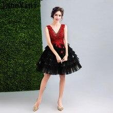 0e7e7f70cc JaneVini w stylu gotyckim czarne krótkie sukienki dla matki panny młodej  suknia balowa Sexy V szyi koronki aplikacja koraliki Ve.