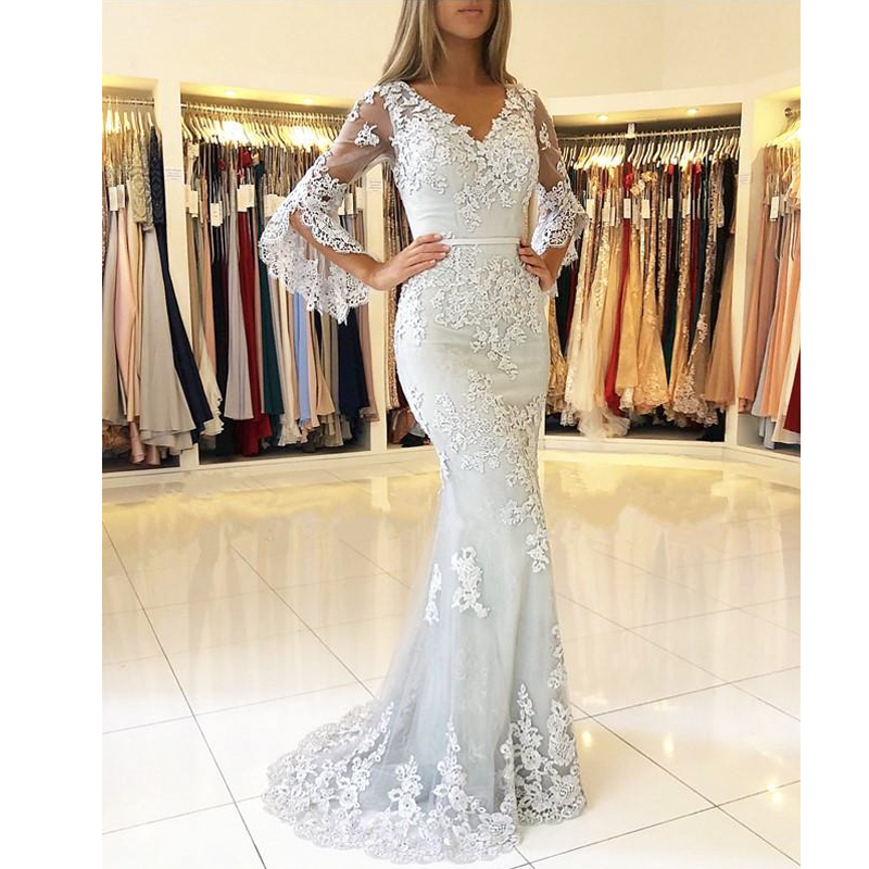 Ange mariée robes de soirée sirène robe de bal col en v appliques dentelle slim femmes formelle robe de soirée robe de soirée 2019