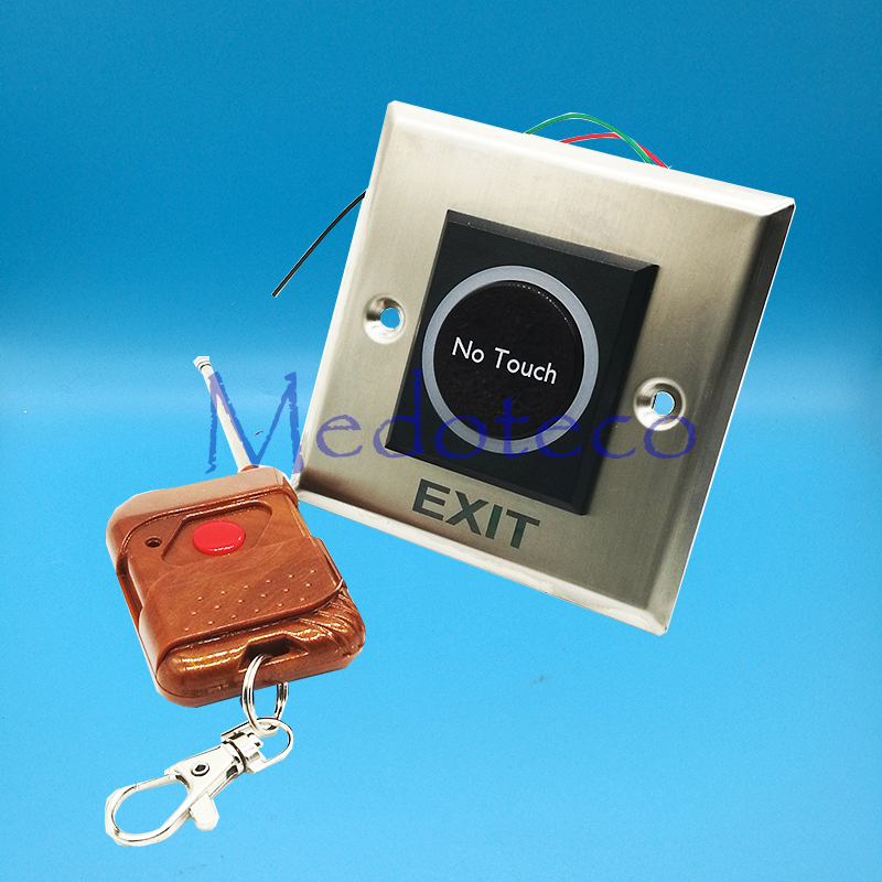 No Touch Infrared Exit Button + Remote Control NC/NO/COM Metal Exit Push Release Button Switch For Door Access Control System exit wound