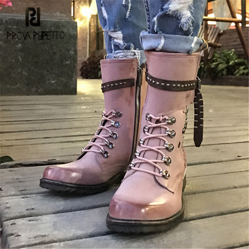 Prova Perfetto Cute Pink Ankle Boots for Women Rivets Studded Soft Leather High Boot Autumn Winter Female Platform Rubber Shoes prova perfetto black ankle boots for women rivets studded genuine leather martin boot autumn winter female platform rubber boots