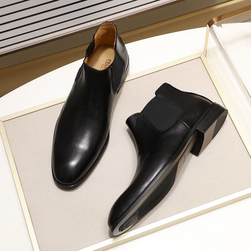 2019 bottes Chelsea en cuir véritable chic hommes de mode sans lacet bout simple noir bottine hommes haut robe top chaussures taille 39 46 - 3
