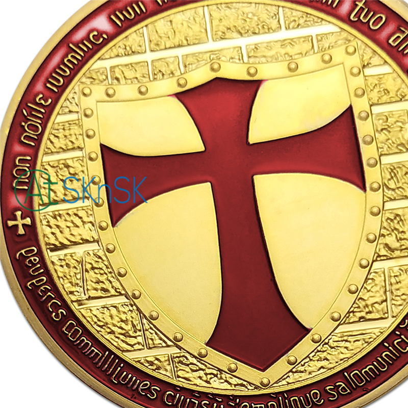 Sample order 1pcs Exclusive Masonic UK Art challenge Coin 24k Gold Plated red enamel cross Knights Templar Coin collectiables in Non currency Coins from Home Garden