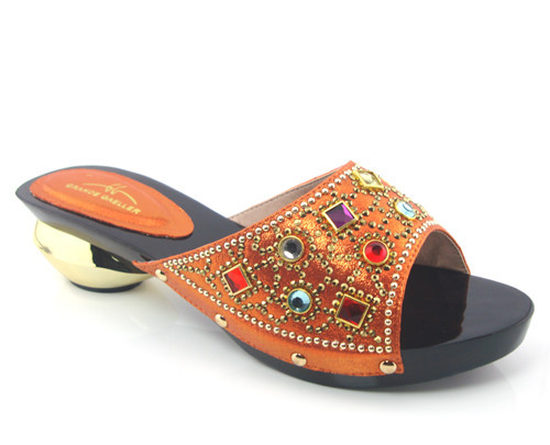 ФОТО Orange Hot Sale African Sandals Shoes Nice Looking African Women Shoes With Rhinestones!!HFS1-31