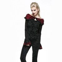 New Style Punk Gothic Roses Flocking T Shirt With Cape Design Steampunk Flare Sleeves Sexy Off Shoulder Tee Shirt Tops