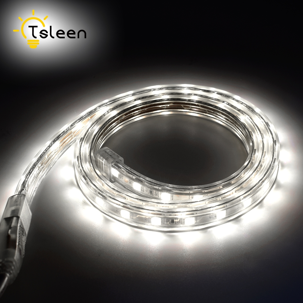 TSLEEN Cheap LED Strip Light SMD 5050 Flexible LED Tape Neon Ribbon Lights For Home christmas Decor 1M 2M 3M 4M 5M EU UK Plug
