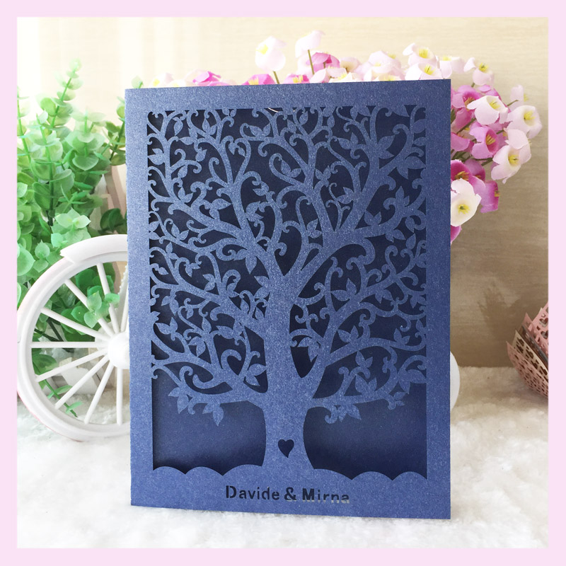 Aliexpress Buy Laser Cut Hollow Design Wedding Invitation Cards With Envelopes And Seals 2016 Customized Birthday Greeting Card Tree From