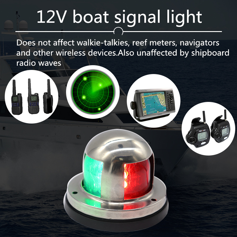 Marine Boat Yacht LED Navigation Light 2019 New 12V Stainless Steel Red And Green Bow Signal Lights Deck Mount High Quality