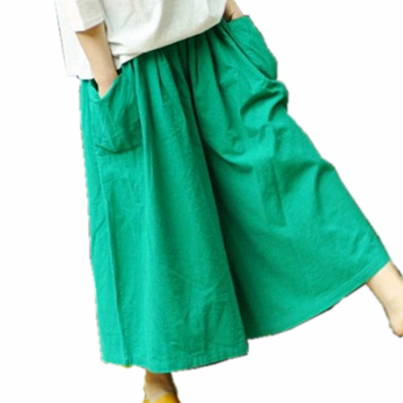 Wide Leg   Pants   Women Cotton Linen Big Pockets Wide Leg   Pants   Trousers Plus Size Elastic Waist   Capris   Skirt   Pants