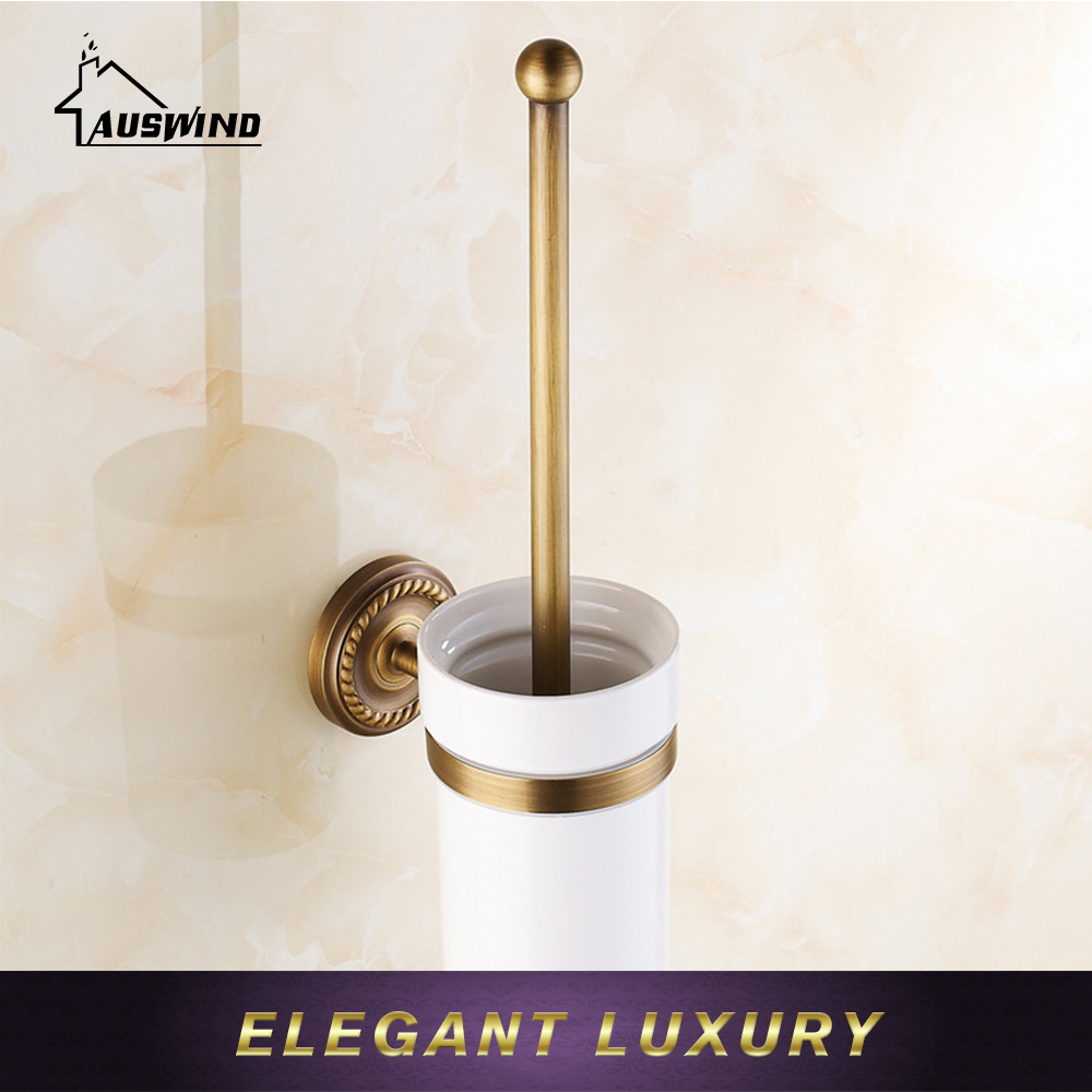 Antique Gold/Black/Bronze Brushed Brass Toilet Brush Holder Wall Mounted Bathroom Accessories Products european luxury bathroom accessories antique bronze toilet brush holder bath products high quality free shipping
