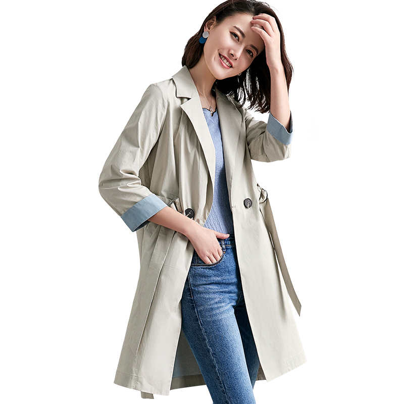 2019 Fashion Women   Trench   Coat Spring New Arrival Hit Color Cuff Bandage Long Coats Female Office Casual Double-breasted Outwear