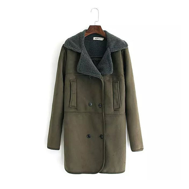 Plus Size Trench Coat Women Clothing Winter Army Green Faux Suede Fleece Liner Single Breasted Outerwear Female Warm Overcoat