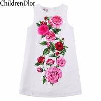 W L MONSOON Girls Rose Flower Dress Summer 2017 Brand Handmade Children Princess Costumes Kids Dresses