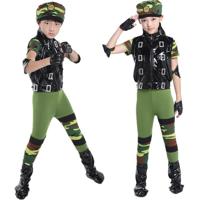 Бесплатная доставка камуфляж дети Военная Униформа униформы солдат армии  одежда Сценическое танцевальные костюмы для детей Обувь b4f98ccd84e