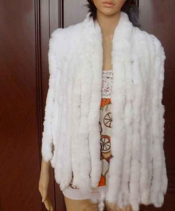 Настоящий вязаный шарф из меха кролика рекс женский зимний теплый натуральный мех шаль FP574 - Цвет: White
