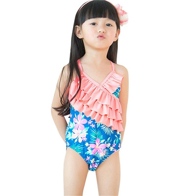 neonate costume da bagno di un pezzo di estate dei capretti ruffle flower stampato costume da