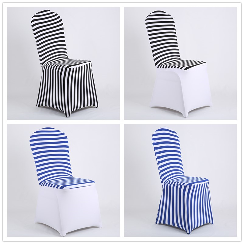 Simple Dinning Room Decor Black and White Blue Striped Spandex <font><b>Chair</b></font> <font><b>Covers</b></font> for birthday party sweetheart matrimonio coffee shop