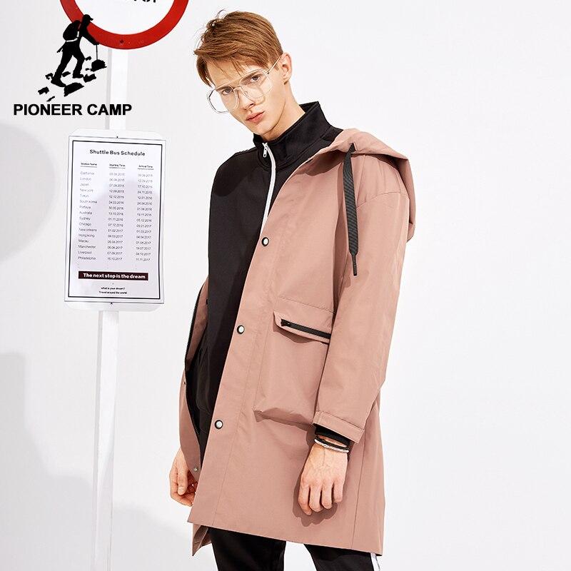 Pioneer Camp nueva llegada hombres gabardina larga estilo coreano marca de ropa con capucha hombres de moda sólida trenchcoat masculino AFY803119