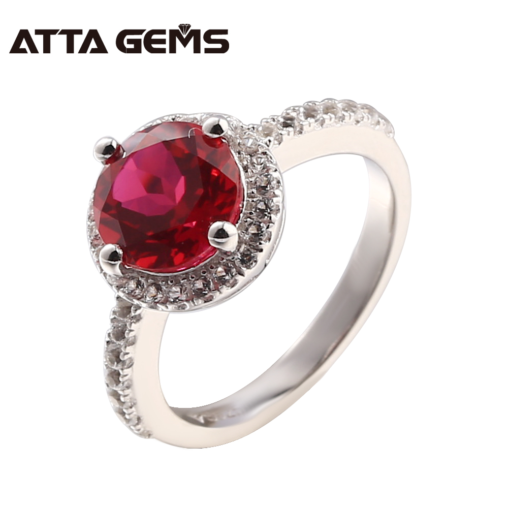 Ruby Silver Ring Women Wedding Band 2.2 Carats Created Ruby Elegant Design Ladies Ring Jewelry Brand Women Engagement Rings red ruby sterling silver women wedding band silver ring 2 1 carats created ruby gemstone engagement romantic style rings