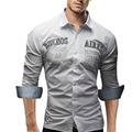 Мужчины Рубашка С Длинным Рукавом 2017 Марка Рубашки Casual Male Тонкий Fit Письма Печатных Сорочка Мужская Camisas Рубашки Мужчины XXL FIWQUOHH