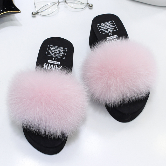 3a0baf2da2ca Furry Hair ball cozy wedges slides thick bottom platform sandals fur  slippers fox hair flip flop plush brand shoes women summer