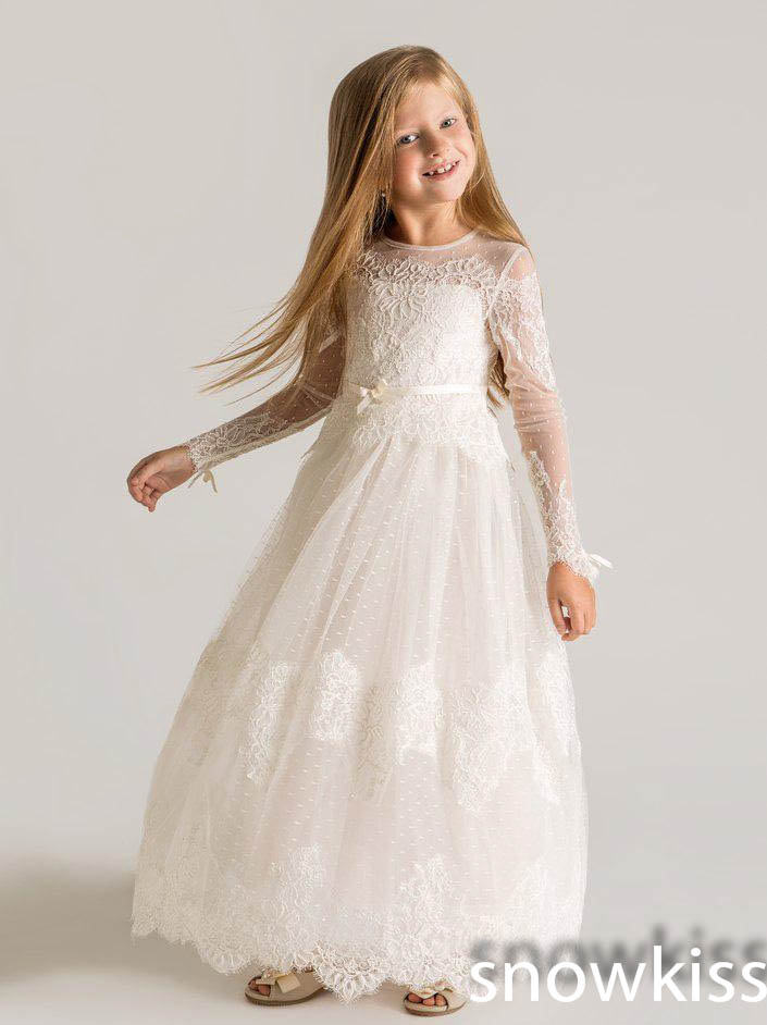 Lovely white/ivory sheer lace long sleeves scoop neckline A-line gowns first communion flower girl dresses for wedding parties