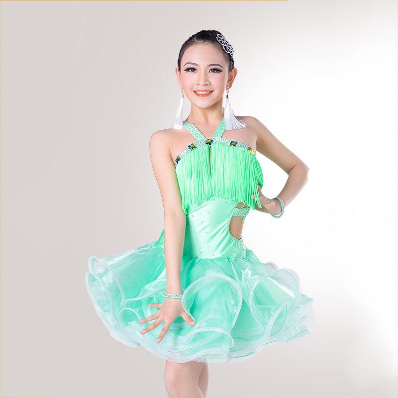 Pretty Latin Dance Dress For Girls Competitive Wear Flamenco Children Tango Chacha Rumba Samba Jive Kid Dresses DNS1002
