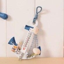 Creative Mediterranean anchor thermometer wooden handmade decoration Bar childrens room home hook12*9.6cm