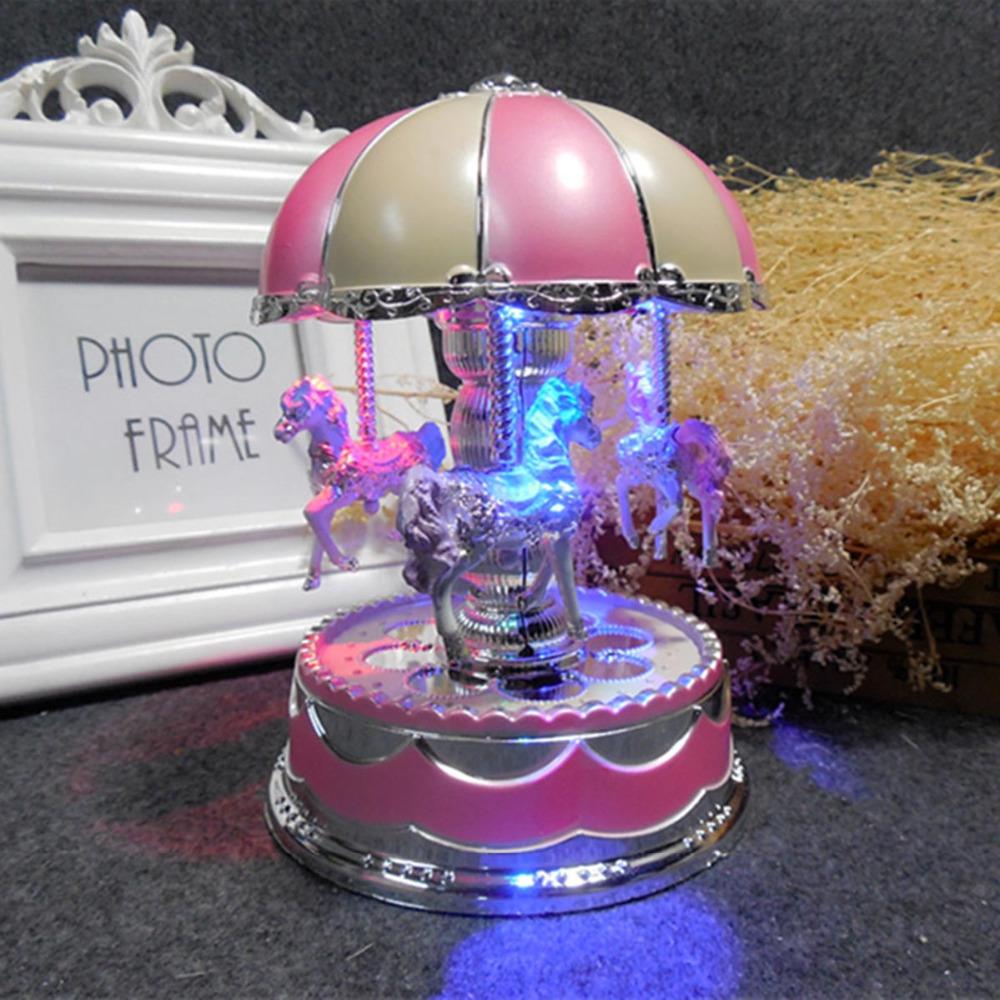 Plastic LED Flash Light Merry-Go-Round Carousel Music Box Home Decoration Accessories Musical Boxes Vintage Gifts For New Year