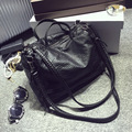 Kajie Autumn Soft Pu Leather Women Retro Crossbody Handbag Woman Shoulder Bags Satchel Bolsa Vintage Black Locomotive Tote