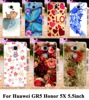 Soft TPU Hard plastic Painting Cases for Huawei GR5 Honor 5X Honor Play 5X Mate 7 Mini 5.5 inch Case Rose Peony Flowers Cover